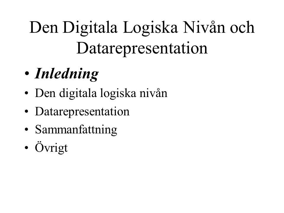 Den Digitala Logiska Nivån och Datarepresentation Inledning Den digitala logiska nivån Datarepresentation Sammanfattning Övrigt