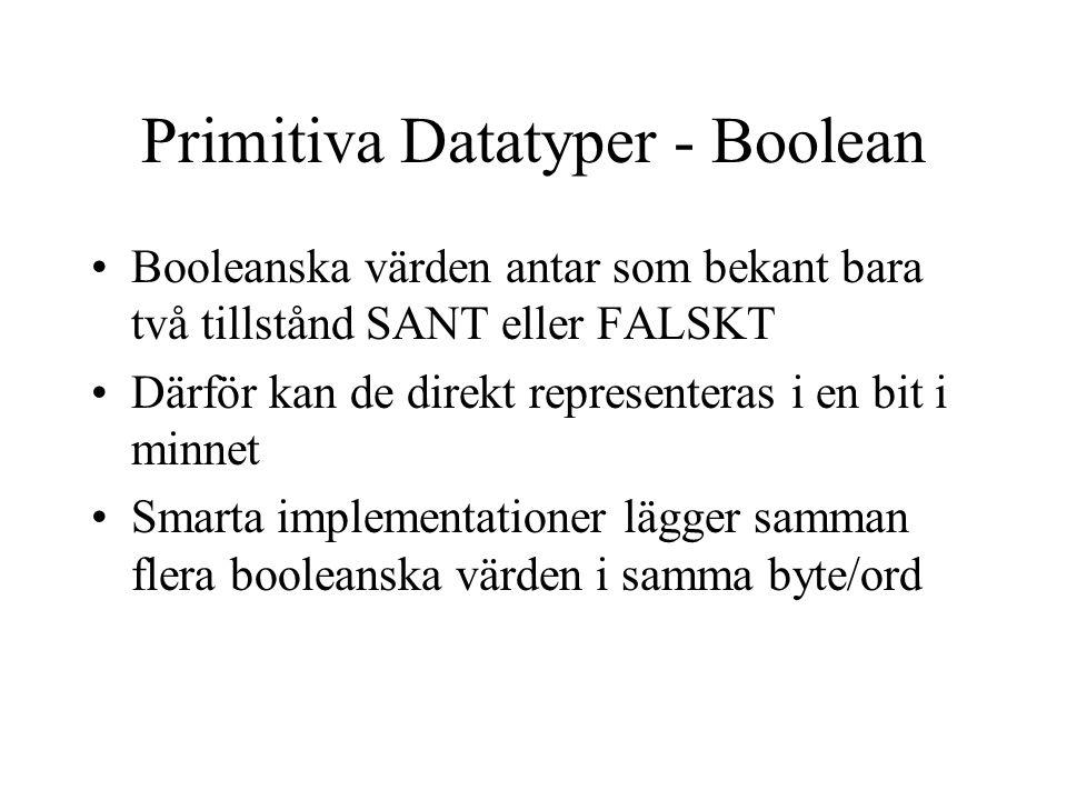 Primitiva Datatyper - Boolean Booleanska värden antar som bekant bara två tillstånd SANT eller FALSKT Därför kan de direkt representeras i en bit i minnet Smarta implementationer lägger samman flera booleanska värden i samma byte/ord