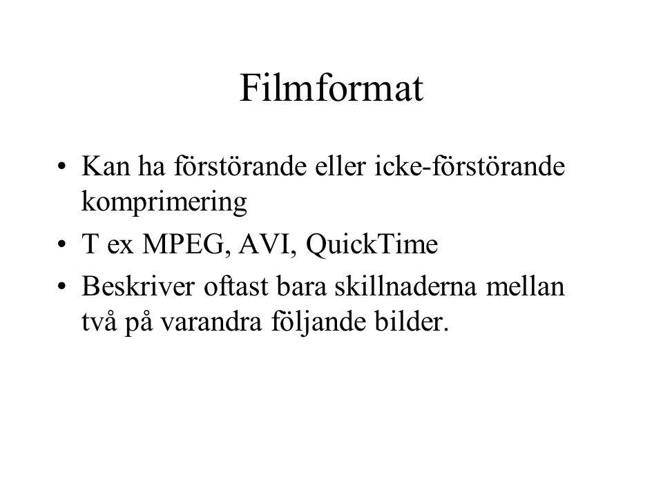 Filmformat Kan ha förstörande eller icke-förstörande komprimering T ex MPEG, AVI, QuickTime Beskriver oftast bara skillnaderna mellan två på varandra följande bilder.