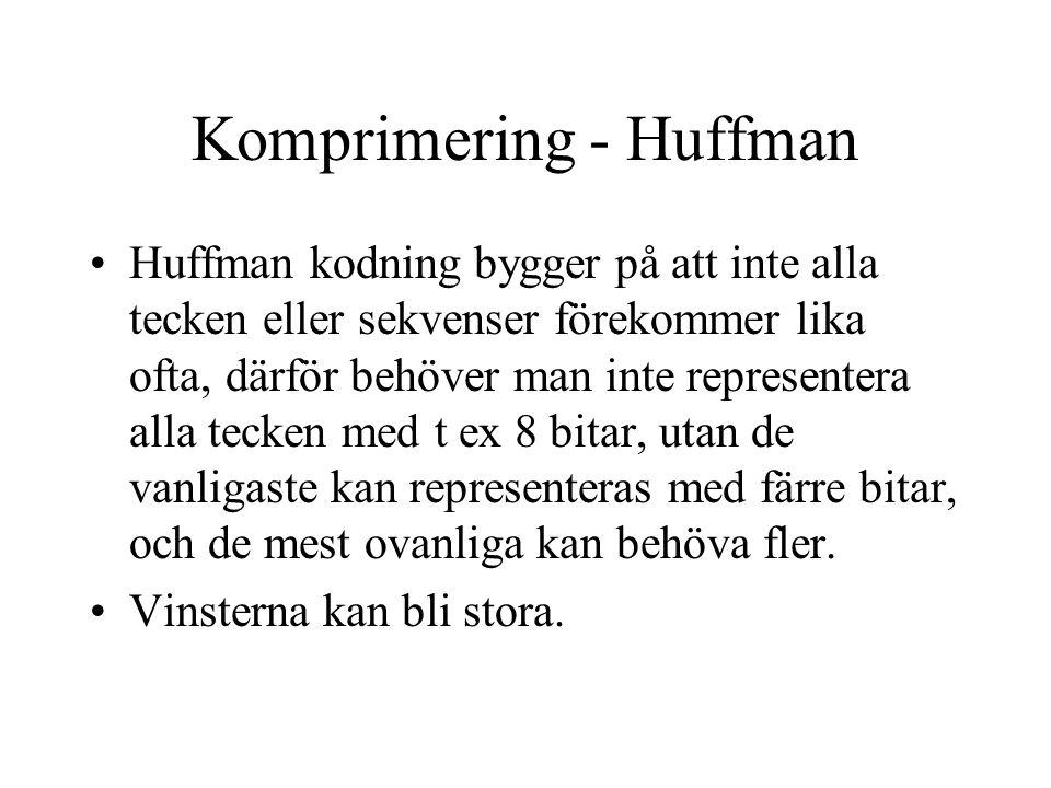 Komprimering - Huffman Huffman kodning bygger på att inte alla tecken eller sekvenser förekommer lika ofta, därför behöver man inte representera alla tecken med t ex 8 bitar, utan de vanligaste kan representeras med färre bitar, och de mest ovanliga kan behöva fler.