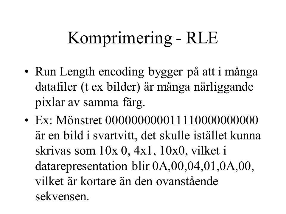 Komprimering - RLE Run Length encoding bygger på att i många datafiler (t ex bilder) är många närliggande pixlar av samma färg.