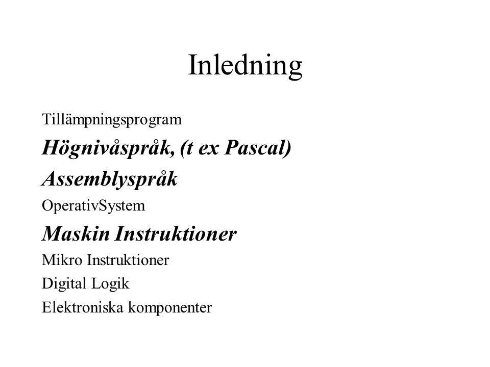Inledning Tillämpningsprogram Högnivåspråk, (t ex Pascal) Assemblyspråk OperativSystem Maskin Instruktioner Mikro Instruktioner Digital Logik Elektroniska komponenter