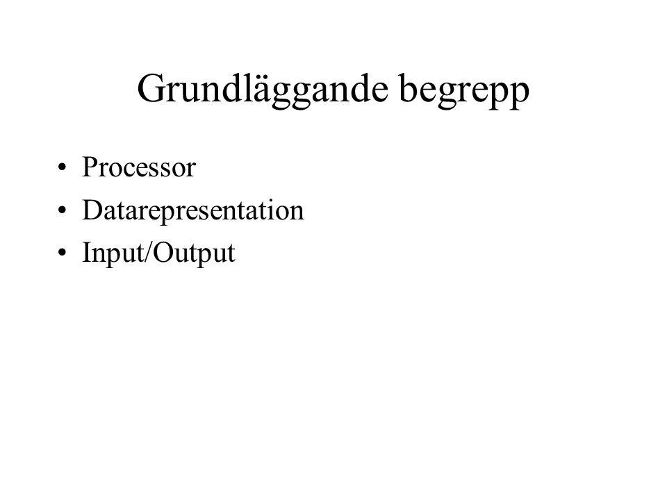 Grundläggande begrepp Processor Datarepresentation Input/Output