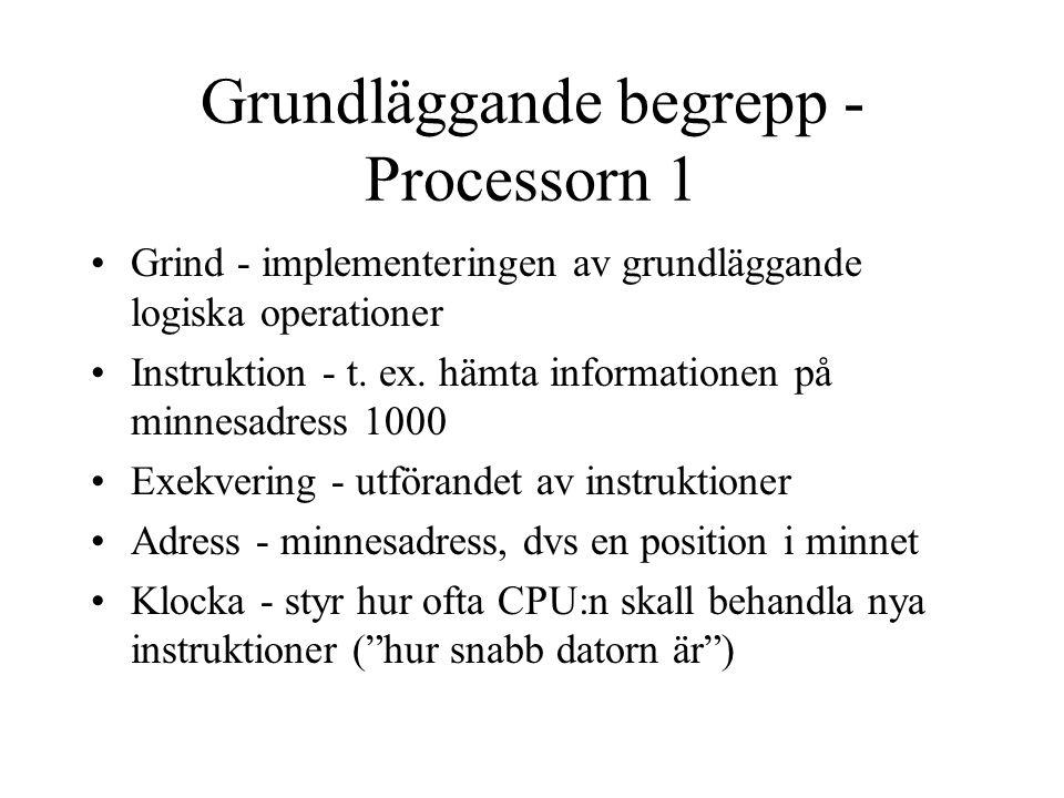 Grundläggande begrepp - Processorn 1 Grind - implementeringen av grundläggande logiska operationer Instruktion - t.