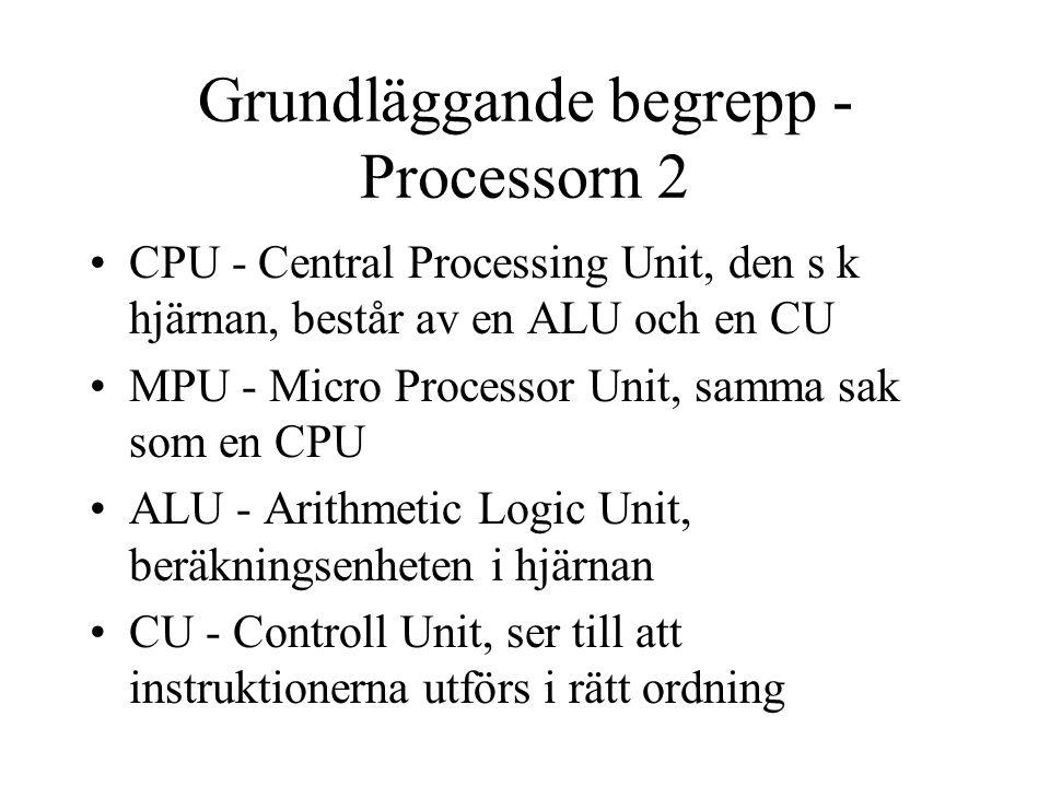 Grundläggande begrepp - Processorn 2 CPU - Central Processing Unit, den s k hjärnan, består av en ALU och en CU MPU - Micro Processor Unit, samma sak som en CPU ALU - Arithmetic Logic Unit, beräkningsenheten i hjärnan CU - Controll Unit, ser till att instruktionerna utförs i rätt ordning