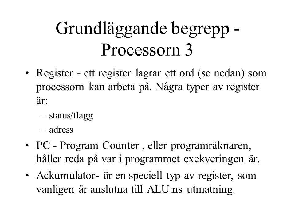 Grundläggande begrepp - Processorn 3 Register - ett register lagrar ett ord (se nedan) som processorn kan arbeta på.
