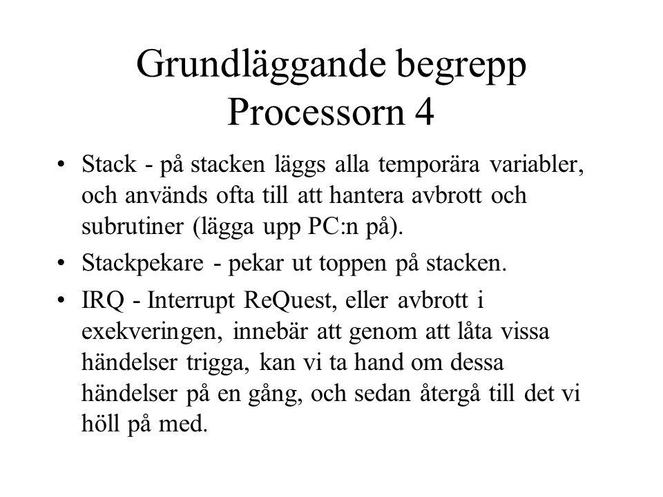 Grundläggande begrepp Processorn 4 Stack - på stacken läggs alla temporära variabler, och används ofta till att hantera avbrott och subrutiner (lägga upp PC:n på).