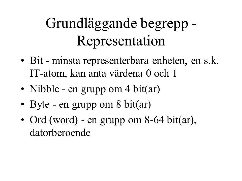 Grundläggande begrepp - Representation Bit - minsta representerbara enheten, en s.k.