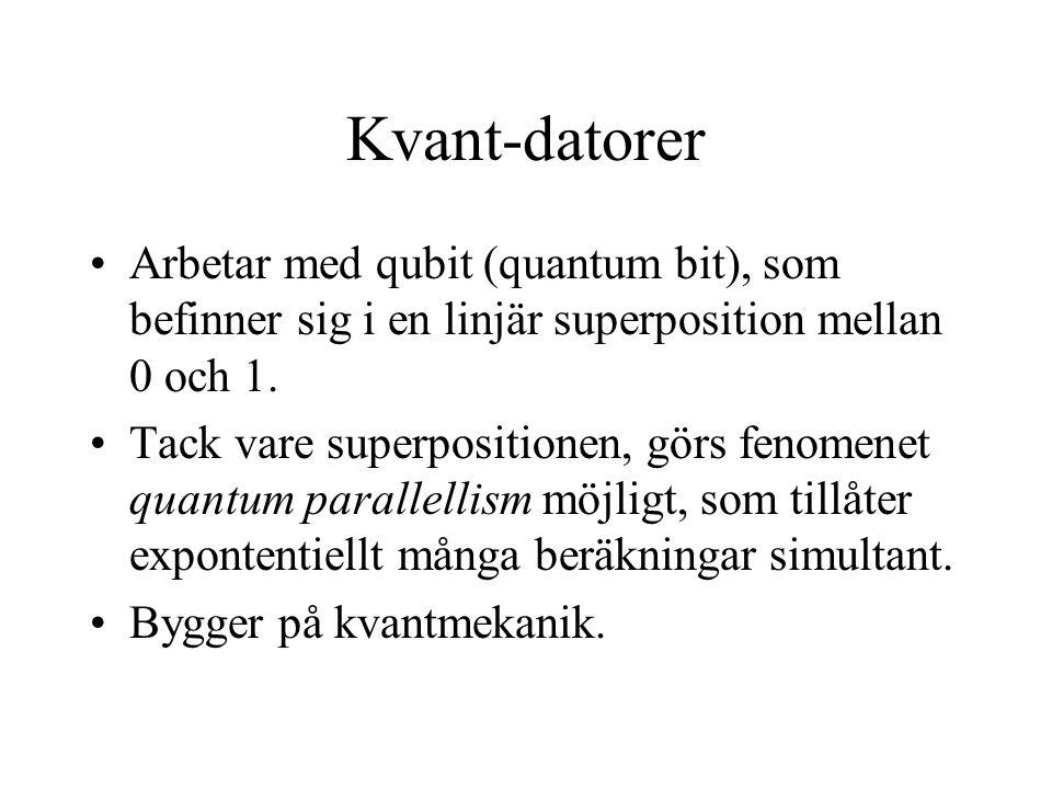 Kvant-datorer Arbetar med qubit (quantum bit), som befinner sig i en linjär superposition mellan 0 och 1.