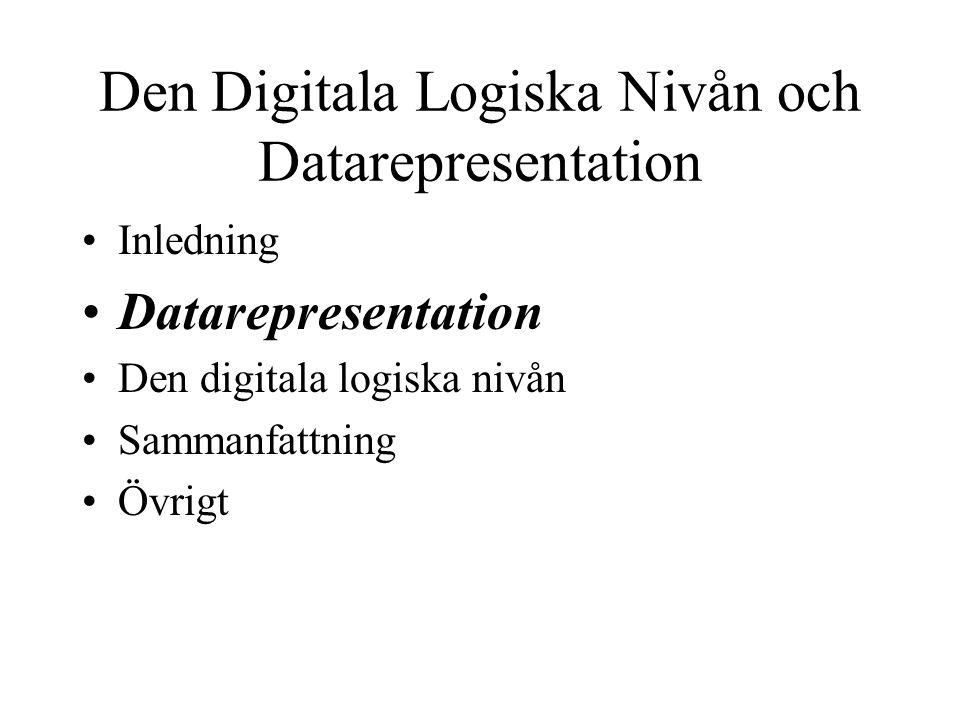 Datarepresentation Inledning Primitiva datatyper Maskininstruktioner MIME Ljudformat Bildformat Filmformat Komprimeringsformat Sammanfattning