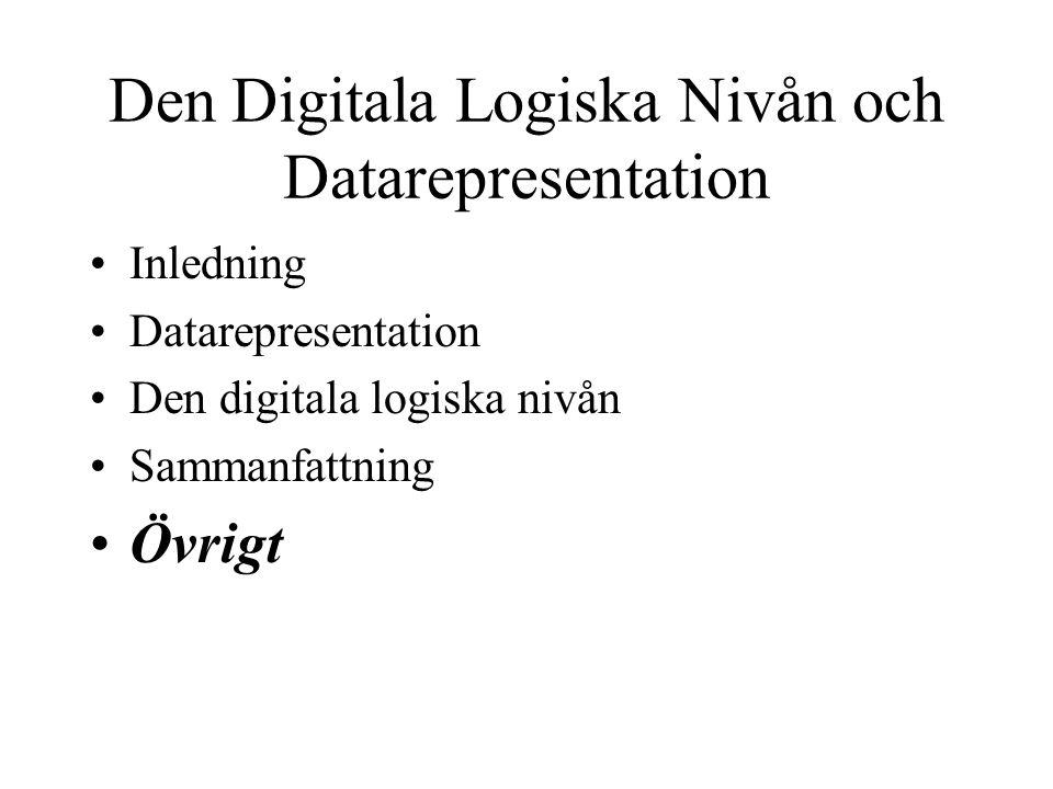 Den Digitala Logiska Nivån och Datarepresentation Inledning Datarepresentation Den digitala logiska nivån Sammanfattning Övrigt