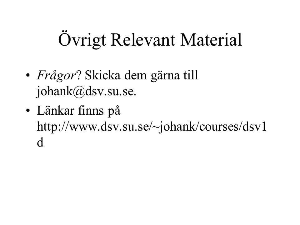 Övrigt Relevant Material Frågor.Skicka dem gärna till johank@dsv.su.se.