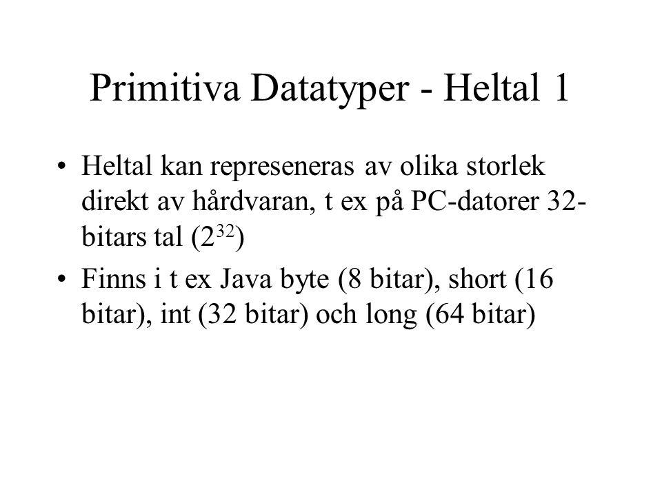 Primitiva Datatyper - Heltal 1 Heltal kan represeneras av olika storlek direkt av hårdvaran, t ex på PC-datorer 32- bitars tal (2 32 ) Finns i t ex Java byte (8 bitar), short (16 bitar), int (32 bitar) och long (64 bitar)