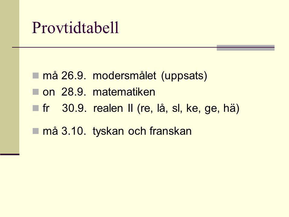 Provtidtabell må 26.9.modersmålet (uppsats) on 28.9.