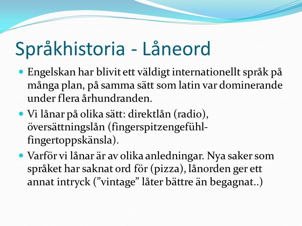 Språkhistoria - Låneord Engelskan har blivit ett väldigt internationellt språk på många plan, på samma sätt som latin var dominerande under flera århundranden.