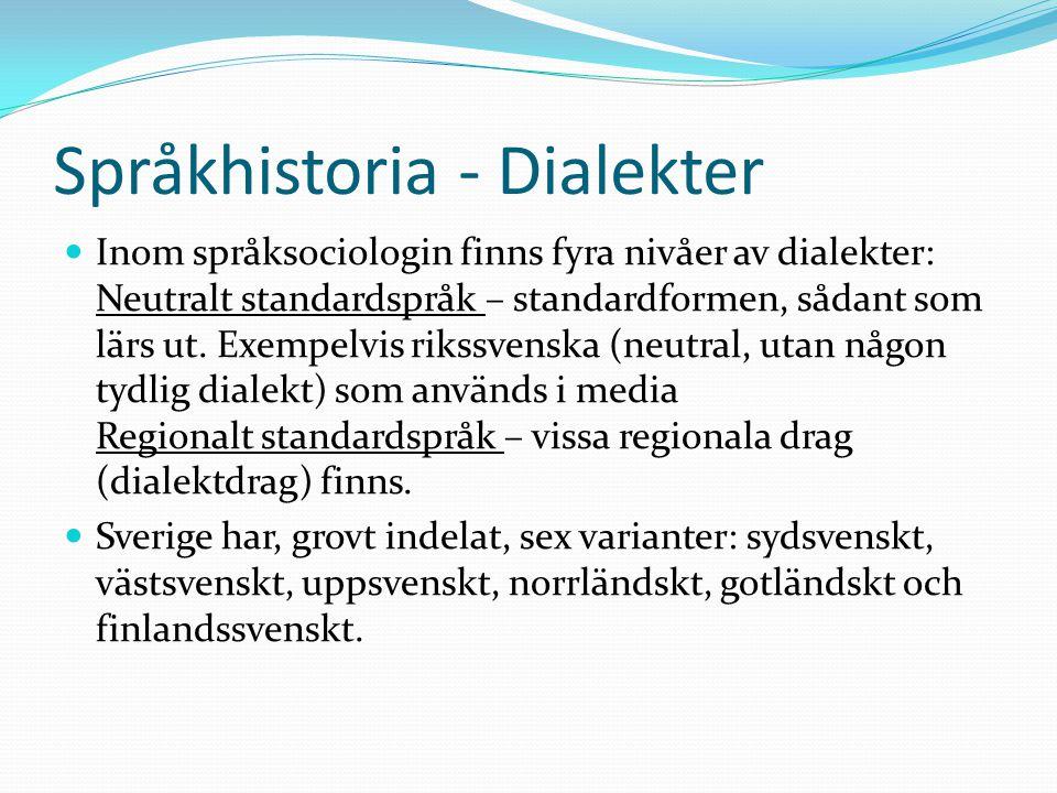 Språkhistoria - Dialekter Inom språksociologin finns fyra nivåer av dialekter: Neutralt standardspråk – standardformen, sådant som lärs ut. Exempelvis