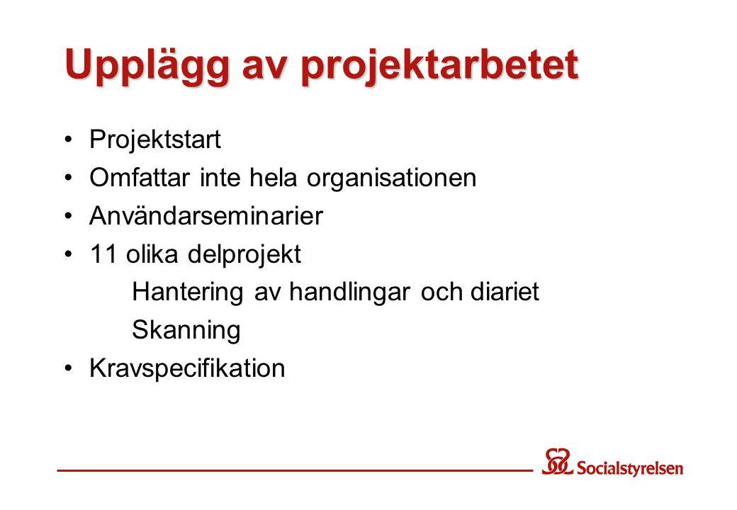 Upplägg av projektarbetet Projektstart Omfattar inte hela organisationen Användarseminarier 11 olika delprojekt Hantering av handlingar och diariet Sk