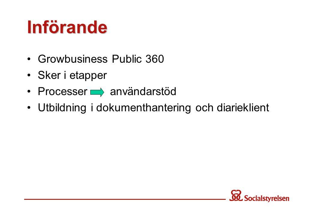 Införande Growbusiness Public 360 Sker i etapper Processer användarstöd Utbildning i dokumenthantering och diarieklient