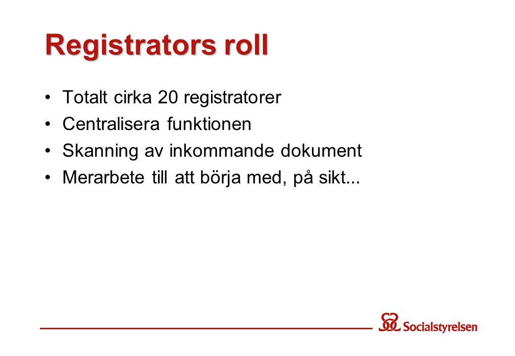 Registrators roll Totalt cirka 20 registratorer Centralisera funktionen Skanning av inkommande dokument Merarbete till att börja med, på sikt...