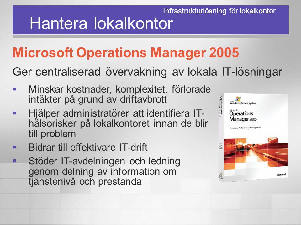 Hantera lokalkontor Microsoft Operations Manager 2005 Ger centraliserad övervakning av lokala IT-lösningar  Minskar kostnader, komplexitet, förlorade