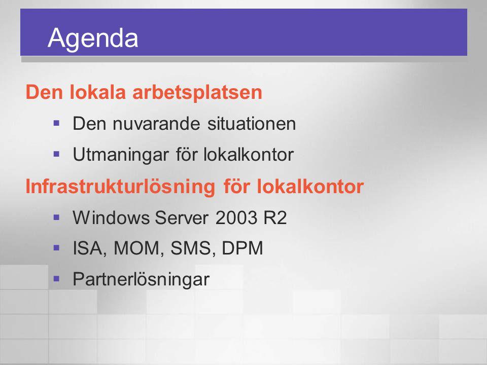 Agenda Den lokala arbetsplatsen  Den nuvarande situationen  Utmaningar för lokalkontor Infrastrukturlösning för lokalkontor  Windows Server 2003 R2