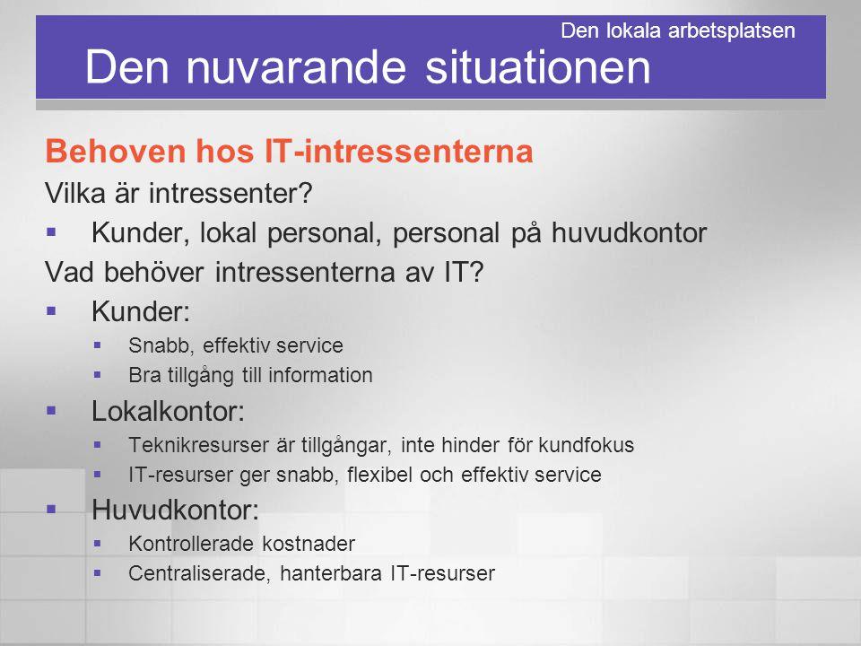 Den nuvarande situationen Behoven hos IT-intressenterna Vilka är intressenter?  Kunder, lokal personal, personal på huvudkontor Vad behöver intressen