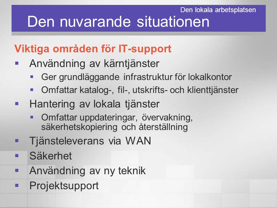 Den nuvarande situationen Viktiga områden för IT-support  Användning av kärntjänster  Ger grundläggande infrastruktur för lokalkontor  Omfattar kat