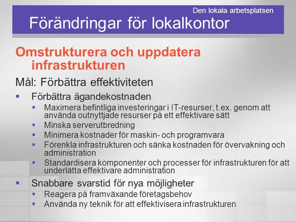 Förändringar för lokalkontor Omstrukturera och uppdatera infrastrukturen Mål: Förbättra effektiviteten  Förbättra ägandekostnaden  Maximera befintli