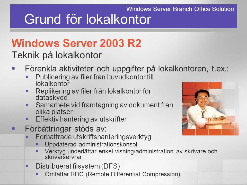 Grund för lokalkontor Windows Server 2003 R2 Teknik på lokalkontor  Förenkla aktiviteter och uppgifter på lokalkontoren, t.ex.:  Publicering av file