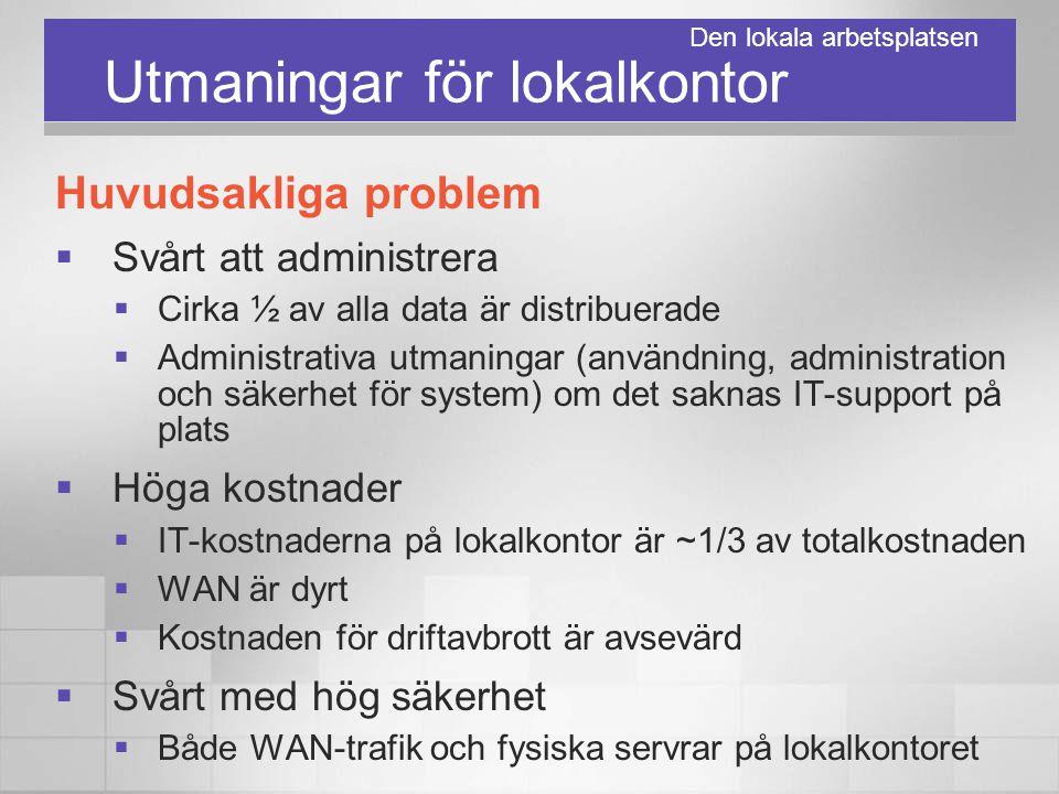 Utmaningar för lokalkontor Huvudsakliga problem  Svårt att administrera  Cirka ½ av alla data är distribuerade  Administrativa utmaningar (användni