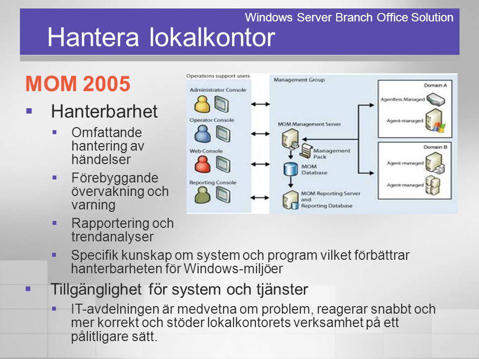 Hantera lokalkontor MOM 2005  Hanterbarhet  Omfattande hantering av händelser  Förebyggande övervakning och varning  Rapportering och trendanalyse