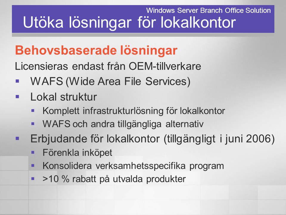 Utöka lösningar för lokalkontor Behovsbaserade lösningar Licensieras endast från OEM-tillverkare  WAFS (Wide Area File Services)  Lokal struktur  K