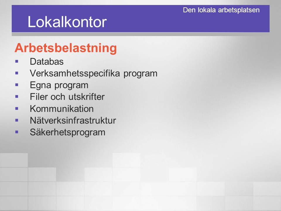 Lokalkontor Arbetsbelastning  Databas  Verksamhetsspecifika program  Egna program  Filer och utskrifter  Kommunikation  Nätverksinfrastruktur 