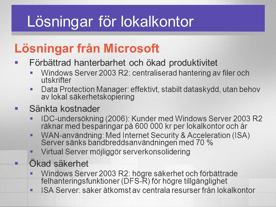Lösningar för lokalkontor Lösningar från Microsoft  Förbättrad hanterbarhet och ökad produktivitet  Windows Server 2003 R2: centraliserad hantering