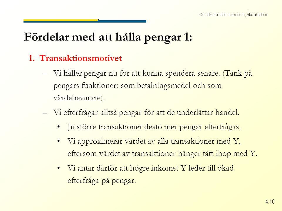 Grundkurs i nationalekonomi, Åbo akademi 4.10 Fördelar med att hålla pengar 1: 1.Transaktionsmotivet –Vi håller pengar nu för att kunna spendera senare.