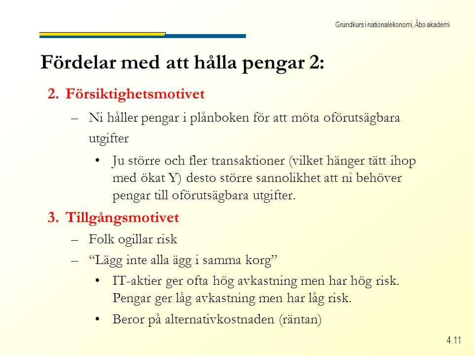 Grundkurs i nationalekonomi, Åbo akademi 4.11 Fördelar med att hålla pengar 2: 2.Försiktighetsmotivet –Ni håller pengar i plånboken för att möta oförutsägbara utgifter Ju större och fler transaktioner (vilket hänger tätt ihop med ökat Y) desto större sannolikhet att ni behöver pengar till oförutsägbara utgifter.