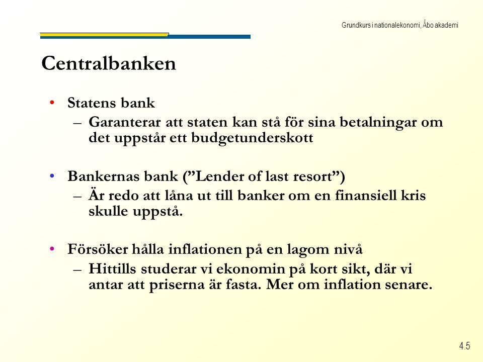 Grundkurs i nationalekonomi, Åbo akademi 4.5 Centralbanken Statens bank –Garanterar att staten kan stå för sina betalningar om det uppstår ett budgetunderskott Bankernas bank ( Lender of last resort ) –Är redo att låna ut till banker om en finansiell kris skulle uppstå.