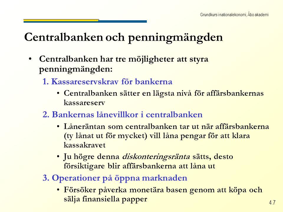 Grundkurs i nationalekonomi, Åbo akademi 4.7 Centralbanken och penningmängden Centralbanken har tre möjligheter att styra penningmängden: 1.