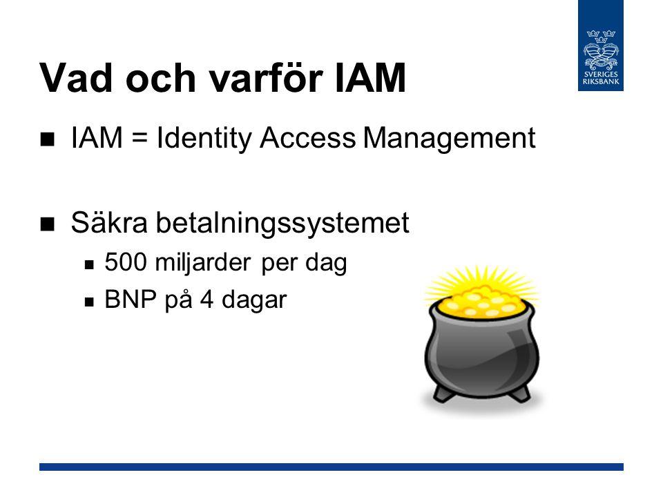 Vad och varför IAM IAM = Identity Access Management Säkra betalningssystemet 500 miljarder per dag BNP på 4 dagar