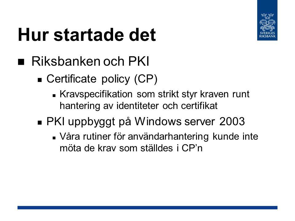 Hur startade det Riksbanken och PKI Certificate policy (CP) Kravspecifikation som strikt styr kraven runt hantering av identiteter och certifikat PKI uppbyggt på Windows server 2003 Våra rutiner för användarhantering kunde inte möta de krav som ställdes i CP'n