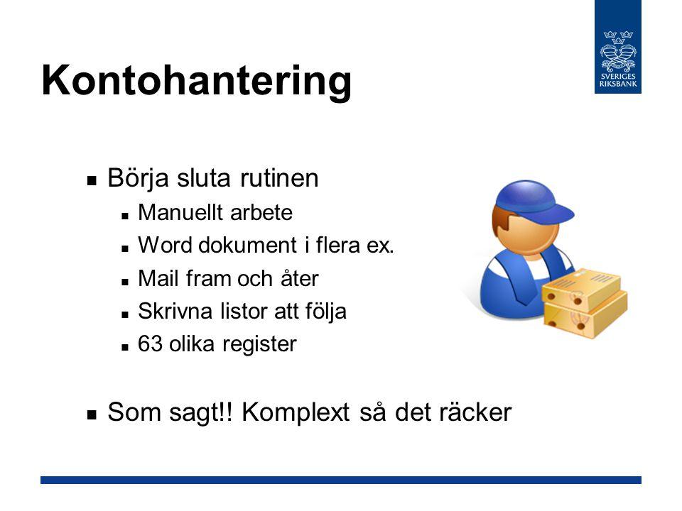 Kontohantering Börja sluta rutinen Manuellt arbete Word dokument i flera ex.