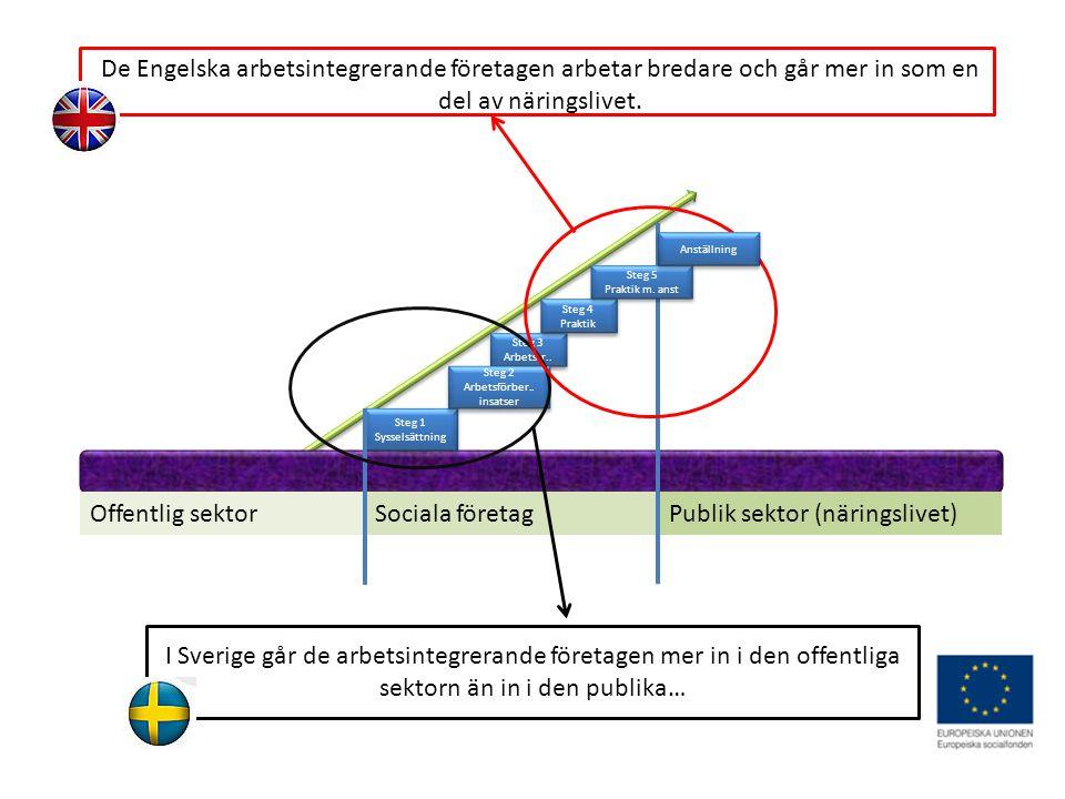 Offentlig sektorSociala företagPublik sektor (näringslivet) Steg 1 Sysselsättning Steg 3 Arbetstr..