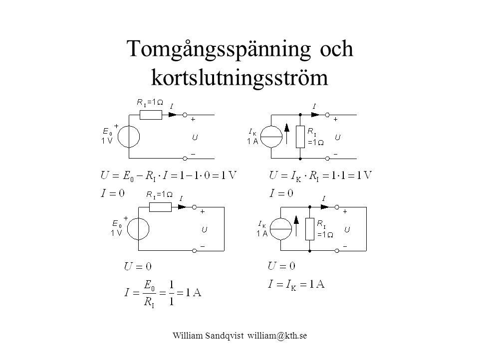 William Sandqvist william@kth.se Tomgångsspänning och kortslutningsström
