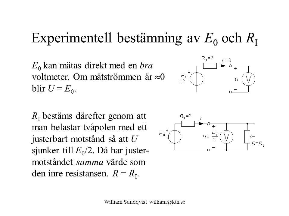 William Sandqvist william@kth.se Experimentell bestämning av E 0 och R I E 0 kan mätas direkt med en bra voltmeter. Om mätströmmen är  0 blir U = E 0