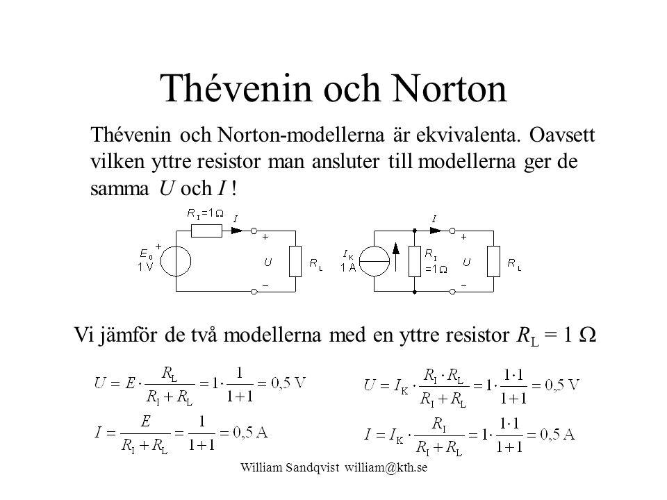 William Sandqvist william@kth.se Thévenin och Norton Thévenin och Norton-modellerna är ekvivalenta. Oavsett vilken yttre resistor man ansluter till mo