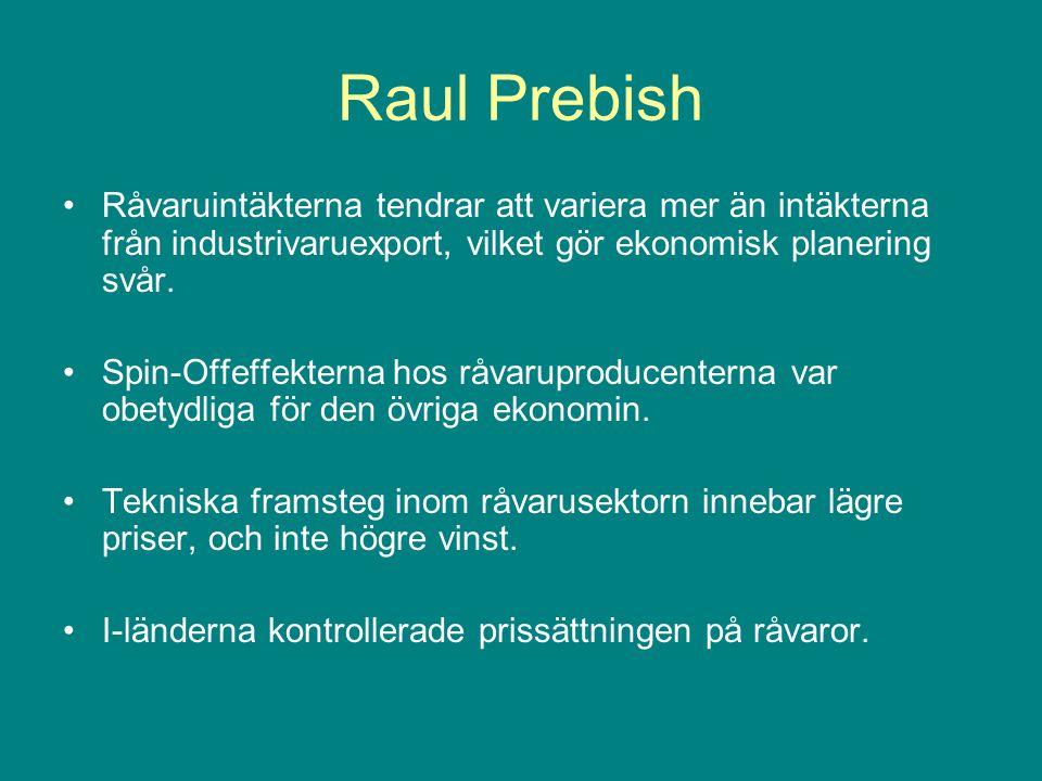 Raul Prebish Råvaruintäkterna tendrar att variera mer än intäkterna från industrivaruexport, vilket gör ekonomisk planering svår. Spin-Offeffekterna h