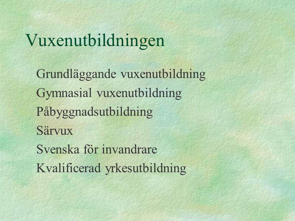 Vuxenutbildningen Grundläggande vuxenutbildning Gymnasial vuxenutbildning Påbyggnadsutbildning Särvux Svenska för invandrare Kvalificerad yrkesutbildning