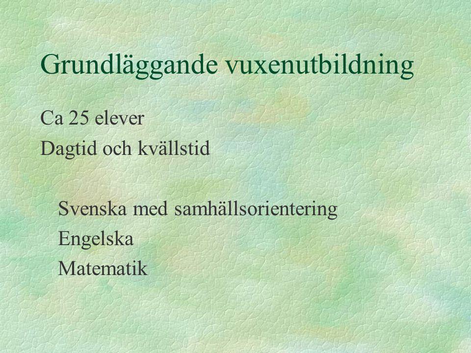 Grundläggande vuxenutbildning Ca 25 elever Dagtid och kvällstid Svenska med samhällsorientering Engelska Matematik
