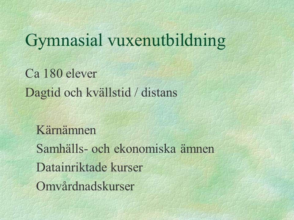 Gymnasial vuxenutbildning Ca 180 elever Dagtid och kvällstid / distans Kärnämnen Samhälls- och ekonomiska ämnen Datainriktade kurser Omvårdnadskurser