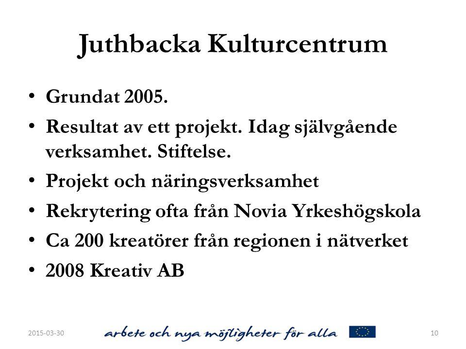 Juthbacka Kulturcentrum Grundat 2005.Resultat av ett projekt.